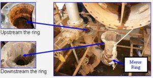 Mucha corrosión aguas arriba del anillo Merus en comparación con la tubería aguas abajo